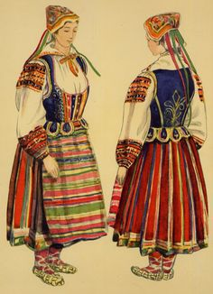 Kul'chytska, in her book on western Ukrainian costumes gives us these sketches made in 1937 in the village of Zabuzhia, along the eastern banks of the Buh [Bog] in the northwest corner of Ukraine.