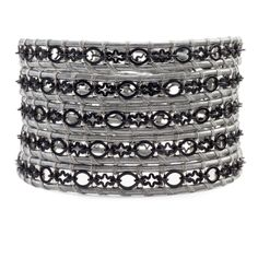 Black Chain Wrap Bracelet on Grey Leather - Chan Luu