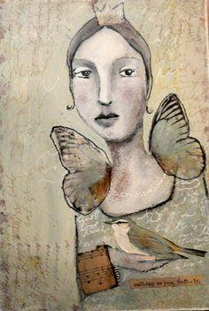 by Misty Mawn ❤ Illustrations, Illustration Art, Collages, Angel Artwork, Fantasy Paintings, Art Journal Inspiration, Face Art, Medium Art, Figurative Art