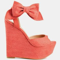 Coral Bow Wedges!
