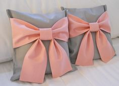 Pink and Gray Bow Pillows