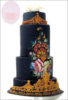 This unique cake is a contesting cake for a wedding cake design competition!
