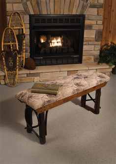 Amish Rustic Hickory Backless Bench