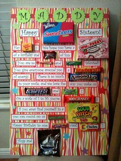 Birthday candy card on scrapbook paper covered foam board – Gift Ideas 2019 Candy Poster Board, Candy Bar Posters, Candy Board, Birthday Book, Sweet 16 Birthday, Birthday Fun, Birthday Ideas, Birthday Wishes, 16th Birthday Gifts