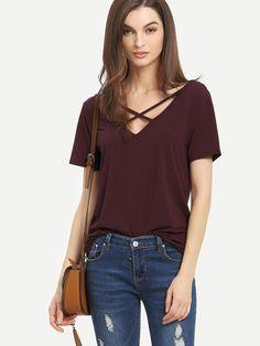 Burgundy+Criss+Cross+Front+Casual+T-shirt+12.00