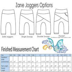Zane Joggers Finished Measurement Chart