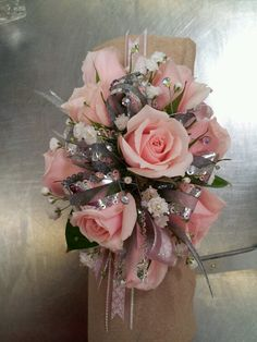 Silver and pink mini rose prom corsage