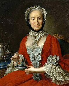 Portrait of a Lady with a Cup of Tea. By an unknown French artist. 18th Century Fashion, Tea Art, Grand Palais, Glamour, Caps For Women, Portraits, American Women, American Lady, French Artists