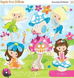 80% OFF SALE fairy clipart commercial use by Prettygrafikdesign