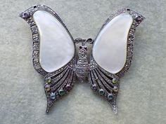 Vintage Butterfly Brooch Sterling marcasite rhinestone MOP figural AB522 by MeyankeeGliterz on Etsy