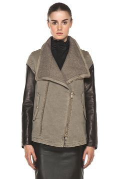 LEATHER AND FUR : GIVENCHY  Denim Jacket with Leather in Taupe
