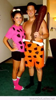Fred and Wilma Flinstone couple costumes for Halloween