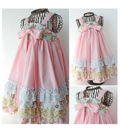 Love the look of plain kona cotton for the straps, bow and skirt, and soft vintage fabrics for the bodice and ruffles.