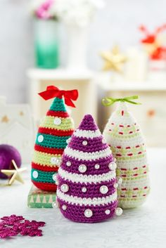 Let's Knit: Christmas Trees - Free crochet pattern by Irene Strange. Free registration required to download pattern.