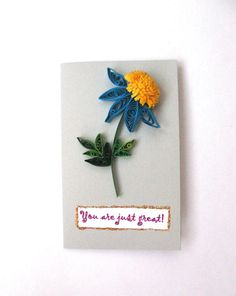 This is a great way to express your love and attention. This homemade card I made from gray cardboard and flower in Quilling technique. This flower made from strips of paper. Size: 6.5*10.3 cm Use Coupon Codes: COUPON1 - 5% off purchase at $ 50 COUPON2 -10% off purchase at $ 75