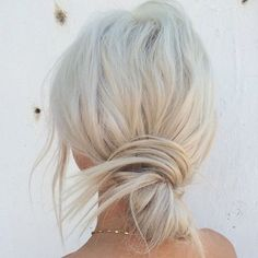 Messy bun on platina blonde hair
