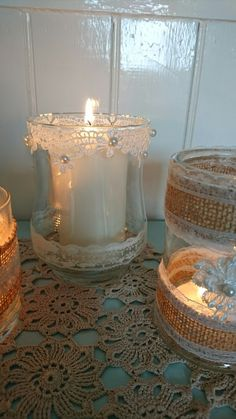 Lace and pearl jar