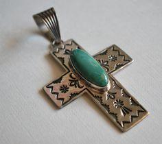 Vintage Variscite and Sterling Silver Cross by JeanneHandmade, $110.00