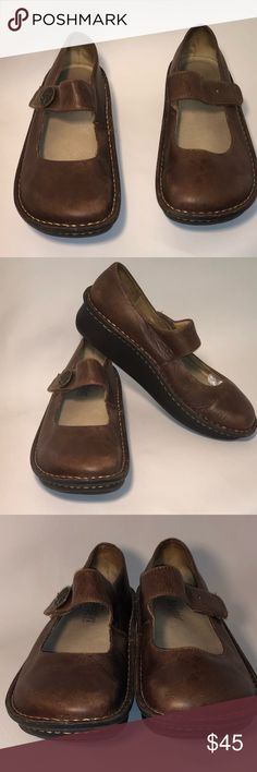 Alegria size UK39/9US Brown Mary Janes ** Alegria size UK39/US Brown Mary Janes** -GUC -size Uero 39/9US -left button missing but it won't get in the way of the Velcro closure -slip resistant  -slight discoloration on a couple spot -comes from a smoke free and pet free home  💗NO TRADES💗 Alegria Shoes Mules & Clogs