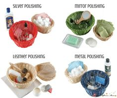 Montessori Practical Life Lesson on Wood Polishing, with examples of leather polishing, silver polishing, mirror polishing, metal polishing kit set-ups