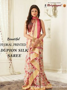 In this hot summer floral print are best choice to look elegant. Choose our beautifully crafted floral printed dupion silk saree. Visit our at Dakshinapan, Gariahat to get this. Dupion Silk Saree, Handloom Saree, Showroom, That Look, Floral Prints, Sari, Printed, Elegant, Hot