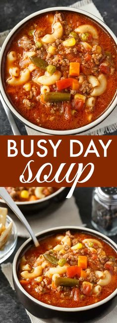 Busy Day Soup - An easy soup recipe your family will love! It's quick to make and takes little effort. Perfect for those busy weeknights. Gluten free option: Use gluten free pasta, cook it in a different pot before adding it to the soup. Easy Soup Recipes, Healthy Recipes, Dinner Recipes, Cheap Recipes, Free Recipes, Recipes With Onion Soup Mix, Beef Broth Soup Recipes, Summer Soup Recipes, Veggie Soup Recipes