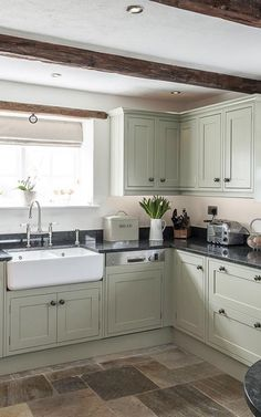 JM Interiors specialise in bespoke hand made Classic English Kitchens. View our stunning gallery of Classic English kitchens. Green Country Kitchen, Small Country Kitchens, Sage Kitchen, New Kitchen, Diy Kitchen Remodel, Home Decor Kitchen, Kitchen Interior, Home Kitchens, Kitchen Design