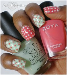 Spring Polka-Dots Mani w/ OPI Gargantuan Green Grape and Zoya- Maya