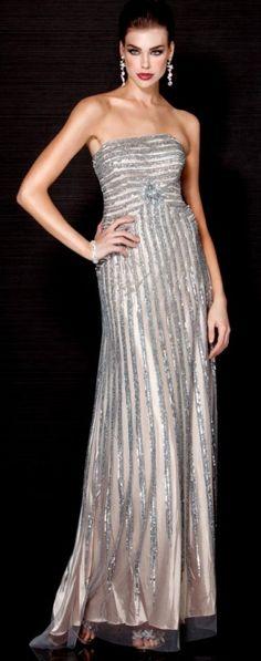 Jovani - Designer dress Silver/Nude