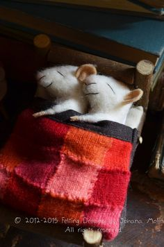 Sleeping Mice - quilting - unique - needle felted ornament animal, felting dreams Made to order on Etsy, $128.00