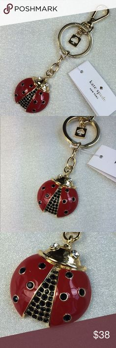 NWT Kate Spade ladybug keychain. Adorable! Enamel with crystals. Gold tone metal. Has a small scratch on the back. Brand new with tag. kate spade Accessories Key & Card Holders