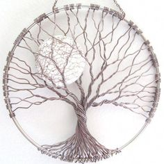 Calming Tree Wire Tree of Life Wall Hanging Sun by HomeBabyCrafts / 46 roots/Branches = 23 pieces of wire. Unsure Of Diameter, trying to do the math backwards. Leaf Wall Art, Metal Tree Wall Art, Metal Art, Art Fil, Tree Artwork, Tree Wall Decor, Art Decor, Wire Trees, Creation Deco