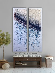 Oversized Rain Painting,  Huge Original Abstract painting, Large abstract wall art, abstract home wall decor, blue, silver, purple, white. $650.00, via Etsy.
