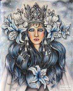 ❄️My Snow Queen is finished ❄️ from Summer Nights ...I have had a love hate relationship ship with this one and she nearly didn't get finished lol ... but I got there in the end ❄️❄️❄️❄️❄️ . #hannakarlzon#summernight#summernightscoloringbook#coloringaddict#colouringbook#coloringtherapy#coloring_secrets#artecomoterapia#coloringbookforadults#colouringkeepsmegoing#primsacolor#polychromospencils#coloringmasterpiece#coloring_masterpieces#lovecolouring#snowqueen#ascoldasice#sommarnatt...