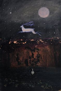 "whirlingatoms: "" At the Edge of the Longest Night by Catherine Hyde. Tarot, Tag Art, Illustration Art, Illustrations, Fairytale Art, London Art, Winter Solstice, Art Plastique, Wicca"