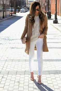 5 Summer 2015 Trends That You Will Still Be Wearing This Fall: white with camel for fall or winter. But, come fall 2015, you may want those skinnies to be flare jeans. Image source: forallthingslovely.com