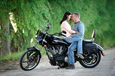 Motorcycle engagement portrait | @Beth Farner Photography Farner Photography - Salt Lake City, UT Wedding Photographer | @SnapKnot
