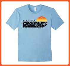 eefa2f51b Mens Retro Horseshoe Beach, FL Vintage Sunset Beach T-shirt Large Baby Blue  -