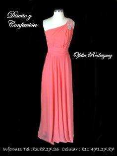 Vestido de fiesta color coral. Ofelia Rdz.
