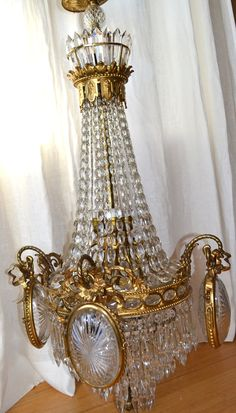Antique Victorian European Crystal Empire Chandelier.