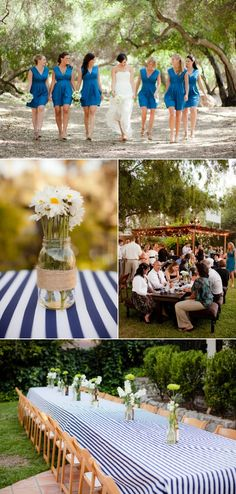 blue, white, and daisies. I love stripes, but this is a bit much I think. Maybe a striped runner v. a striped table cloth