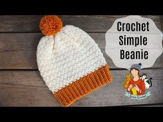 "Learn how to crochet this ""fall themed"" simple beanie hat. A hat that keeps you warm and is usable every day. Whether you are planning to crochet hats for. Crochet Baby Beanie, Baby Knitting, Crochet Hats, Knitted Hats, Crochet Dolls, Crochet Hat Tutorial, Crochet Headband Pattern, Knitting Patterns, Crochet Patterns"