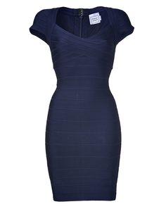 Herve Leger Blue Cap Sleeve Bandage Dress
