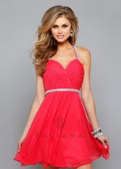42e21283aad A-line Princess Halter Short Mini Chiffon White Red Beaded Homecoming Dress  with Crossed Straps