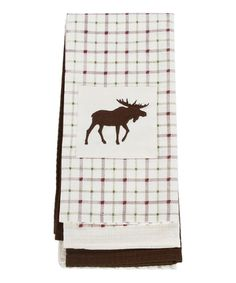 DEI White Moose Embroidered Dish Towel - Set of Three | zulily