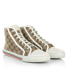 Sporty with Gucci: 'Original GG Canvas High Sneaker in Beige and White'. Wear this super nice Sneakers to jeans and casual street styles. Fashionette.de