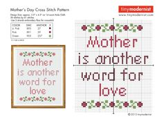 mother is another word for love cross stitch with color key