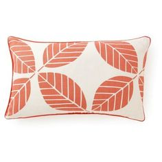 Check out this item at One Kings Lane! Leaves 12x20 Cotton Pillow, Coral