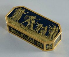 Louis XVI late rectangular Verre- Eglomise gold snuff box by Toussaint-François Pillieux (fl. 1786-1806) marked Paris 1789