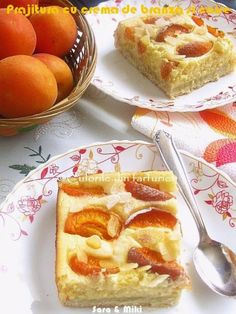 Cake with cream cheese and apricot Romanian Food, Romanian Recipes, Different Cakes, Cake With Cream Cheese, Cheesecakes, Cake Recipes, French Toast, Food And Drink, Plates